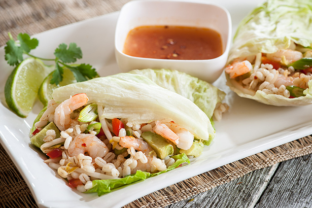 Avocado, Shrimp and Barley Lettuce Wraps