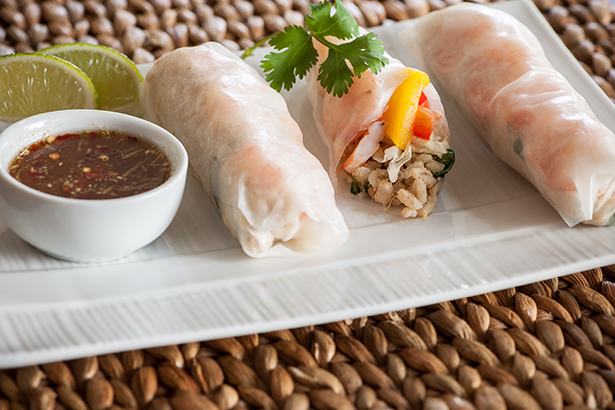 Barley, Mango and Sweet Pepper Spring Rolls with Dipping Sauce