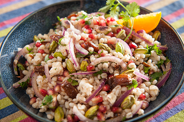 Barley, Pomegranate, Date, Feta and Pistachio Salad