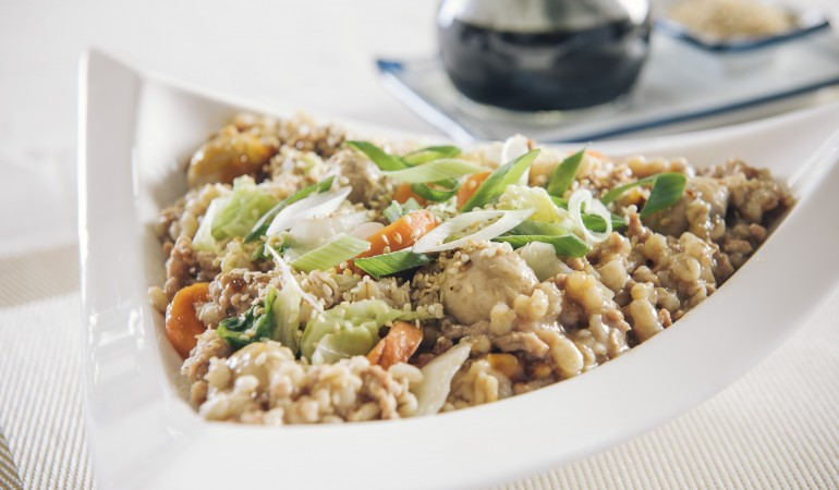 Crunchy Barley Salad with Ginger Sesame Dressing