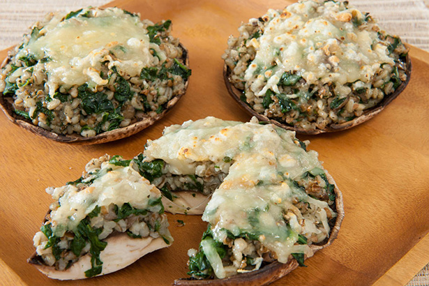 Grain and Spinach Stuffed Portobello Mushrooms