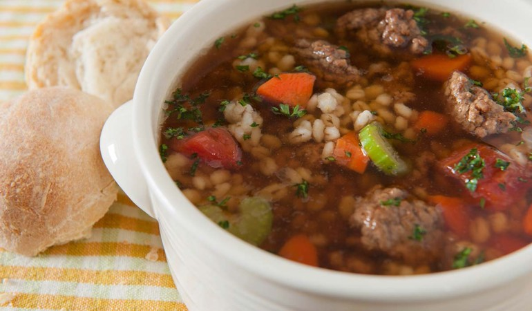Hearty Bison Barley Soup