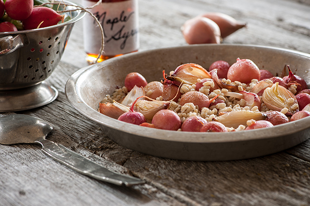 Roasted Barley & Radishes with Balsamic Maple Glaze