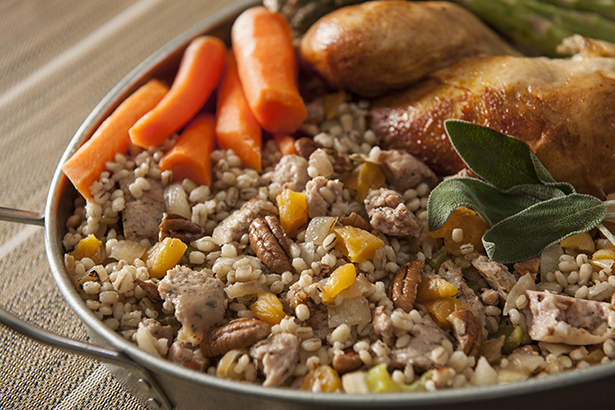 Stovetop Barley Stuffing with Sausage and Apricots
