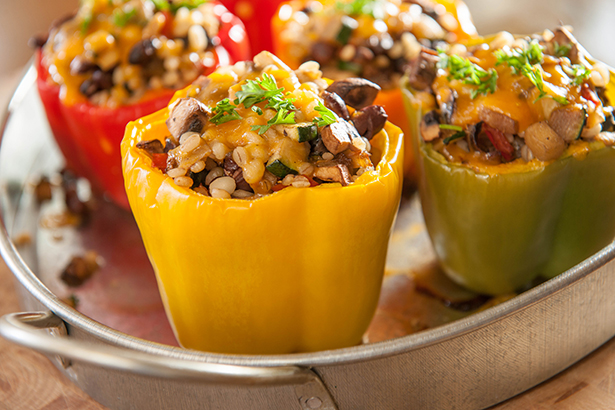 Vegetable, Bean and Barley Stuffed Peppers